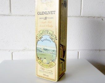 30% Off Sale - Vintage Glenlivet Single Malt Scotch Whiskey Turnberry Tin - Classic Golf Courses of Scotland Collectible Tin
