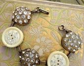 Antique Button Bracelet, vintage rhinestones
