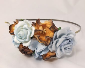 Blue and brown Floral Headband Flower Fascinator Vintage Wedding Party Bridal Accessory Bridesmaid statement