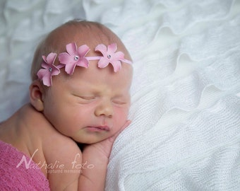 Baby Headband...Newborn Photo Prop...Baby Girl Headband...Pink Flower Headband...Triple Flower Headband...Baby Bow