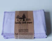 Reusable Diaper Inserts Soakers Doublers Flannel Cloth -  Set of 5 Lavender Diaper Inserts