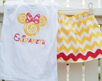 Disney chevron applique skirt set.