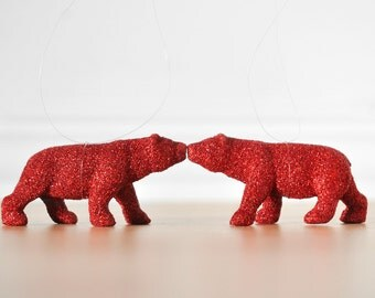 Polar Bear Ornaments in Red Glitter. Animal Lover. Miniature Gift Set of 2 Home Decor, Party Favors or Christmas Decoration, Wedding Favors