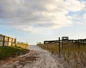 Beach Photography Pathway to the Ocean 8x12 Beach Decor Art  Sand Dunes Sea Oats Sunset on Beach