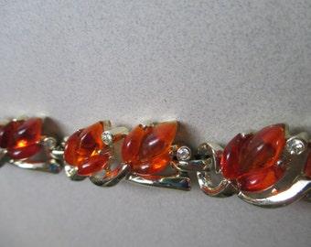 Vintage Kramer Swirly Orange Molded Lucite Fall Colors Leaves Rhinestone Bracelet for smaller wrist signed costume jewelry Mad Men
