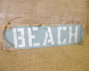 BEACH Wooden Sign in Pale Turquoise and White - Gift Idea - Shabby Chic, Cottage Chic, Coastal Decor