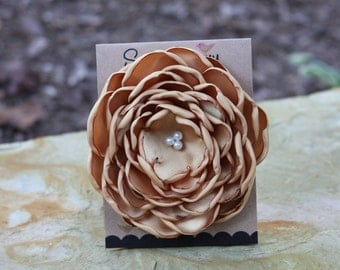 30 Colors Large Satin Flower Pin, Gold Satin Flower Pin