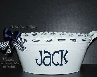 Personalized Oval Metal Tub/ Ice Bucket - - - assorted colors and designs