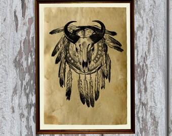Native American poster Tribal art print Animal skull illustration AK82