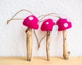 Felted Mushroom Ornaments with Twine Hangers - Set of 3 Pink Felted Waldorf Toadstools Upcycled Woodland Waldorf Inspired Rustic Christmas