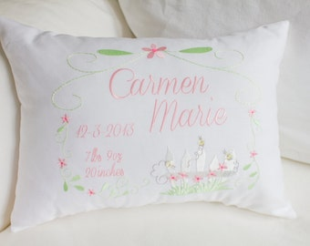 Personalized Baby Pillow, Embroidered Decorative Pillow, Welcome Baby, Baby Shower Gift Idea