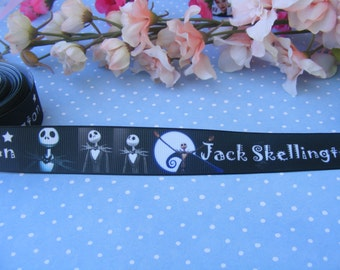 3 yards 1' Jack Skellington Jack and Sally grosgrain ribbon for hair bows, scrap booking, gift wrapping
