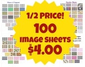 1/2 Price 100 Digital Bottle Cap Image Sheets - horses, scouts, autism, cats, Christmas, and more