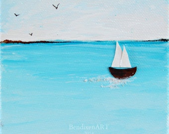 Nautical Beach House Decor--Seascape Painting with Sailboats--Mixed Media Art Diptych
