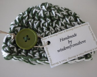 Baby Hat Crochet Newborn Photography Prop Multi Color Green and White with Large Green button