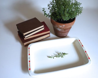 Vintage Enamelware Rectangle Tray with Red and Green Tulips Enamel Camping Basin Farmhouse Chic - Floyd Jones Vintage