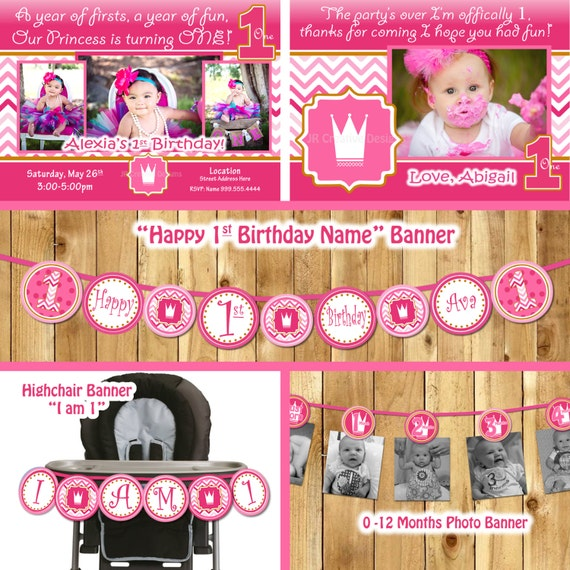 Princess 1st Birthday Party Package, Girl Hot Pink