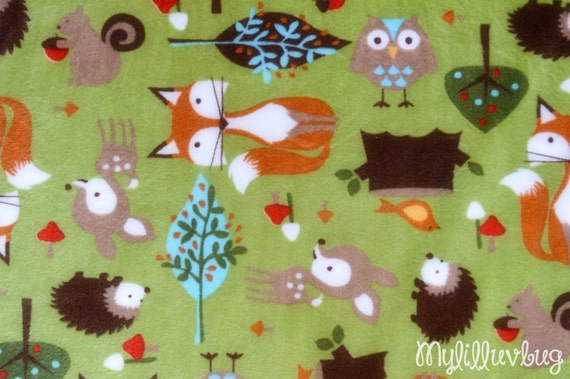 Minky fabric by the yard cuddle kids forest kiwi deer for Kids fabric by the yard