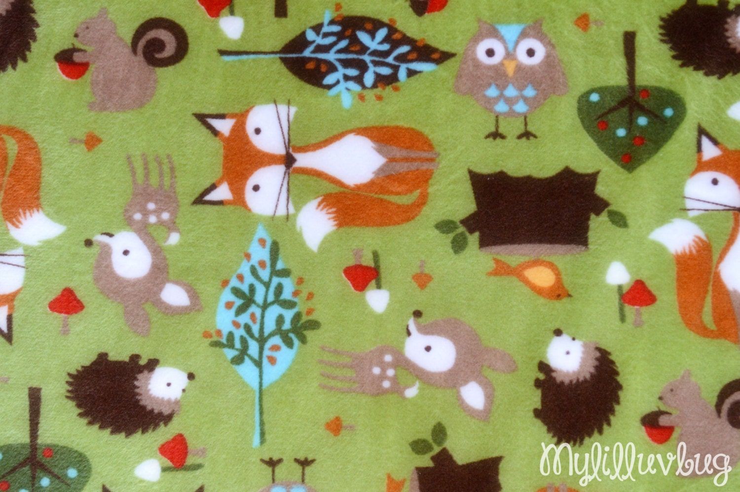 Minky fabric by the yard cuddle kids forest kiwi deer minky for Kids fabric by the yard