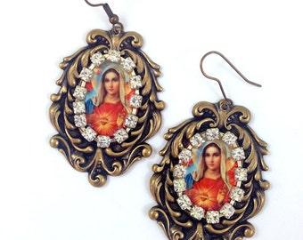 The Virgin de Guadalupe Earrings, vintage gold or silver