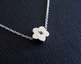 Clearance - Personalized Initial, Daisy Flower Bead- Sterling Silver Necklace - simple modern necklace