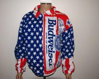 Budweiser Beer Vintage American Flag Jacket - XL
