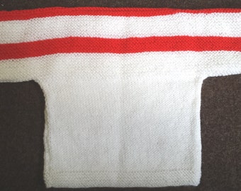 Hand knit childs jumper in white and red, size 20 inch
