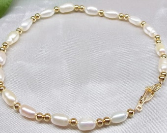 Solid 14kt Gold Anklet White Pearl Anklet 14k Gold White Pearl Ankle Bracelet Christmas Gift For Her Gift For Mom BuyAny3+Get1 Free