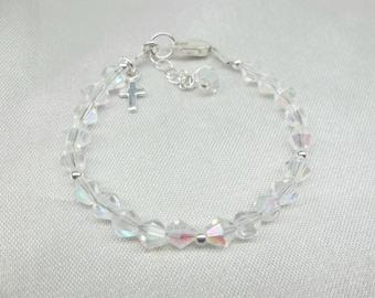 Girls Cross Bracelet Girls Clear Crystal Bracelet Baby Bracelet Baptism Bracelet Adjustable Bracelet Sterling Silver Bracelet BuyAny3+1Free
