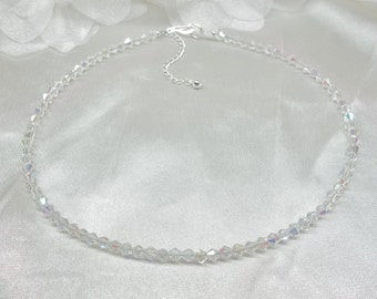 Clear AB Crystal Necklace Adjustable Necklace 925 Sterling Silver Bridesmaid Necklace BuyAny3+Get1Free