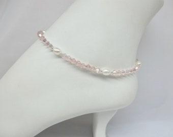 Pink Crystal Anklet White Pearl Anklet Pink Ankle Bracelet 925 Sterling Silver or 14K Gold Filled Anklet BuyAny3+Get1 Free