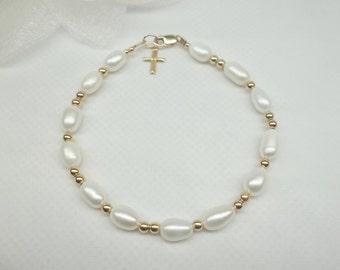 14kt Gold Pearl Bracelet Gold Cross Bracelet White Pearl Strand 14k Gold Filled Bracelet Stamped GF 1/20 Buy3+1 Free