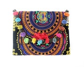 Ethnic Clutch Embroidered Bag Colorful Pom Pom HMONG Handmade Thailand (BG306WP-YCAT)