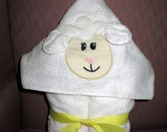 Lamb Appliqued, Bath/Beach, Hooded Towel......Great Christmas Gift