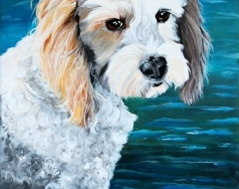 "Custom dog portrait 8""x12"" canvas from your photo - pet portrait, water background"