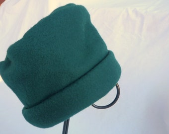 Green Fleece Hat, Roll Brim Hat, Soft and Warm Hat, Green Hat, Fleece Hat
