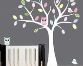 Nursery wall decal tree white wall decal birds and owls for children