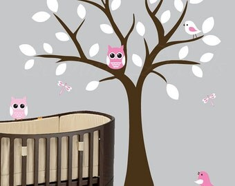 Nursery tree wall decal with owls vinyl wall decal - 0028