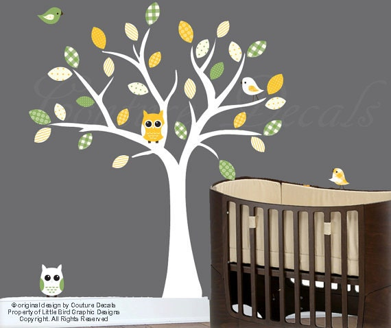 Baby wall decals white tree wall decal with yellow and green patterned leaves - 0067