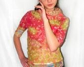 Nuno Felted Sweater/  red green / Asymmetric  Sweater / Nuno Felt Clothing / spring fashion