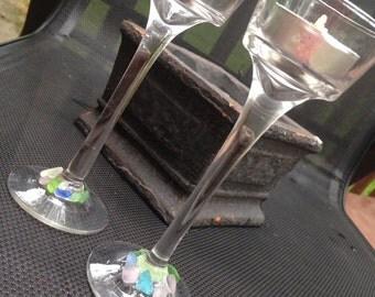 Seaglass Tealight Glass Holder