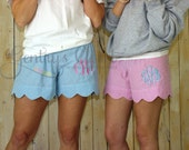 Women's pink seersucker scalloped edge monogrammed shorts. Pink lounge shorts for women. Bridesmaid gifts with monogram. Embroidered.