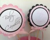Simple Elegance Collection Black- Baby Shower Centerpiece Decoration Sticks Set of 2