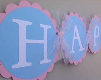 Happy 1st Birthday Banner Pink and Blue Winter Onederland Party Banner