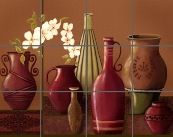 Tuscan Pottery Artistic Tile Mural Ceramic Back Splash Custom Design