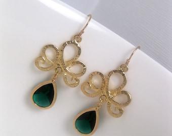 Green Earrings - Emerald Earrings - Swirl Earrings - Gold Earrings - Glass Earrings - 14k Gold Earwires
