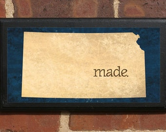 Kansas KS MADE Wall Art Sign Plaque Gift Present Personalized Color Custom Wichita Topeka Overland Park Olathe Kansas City Classic