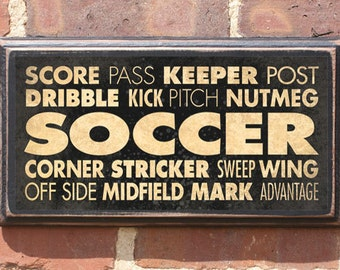 Antiqued Finish Soccer Vintage Style Wall Plaque/Sign - Custom Color