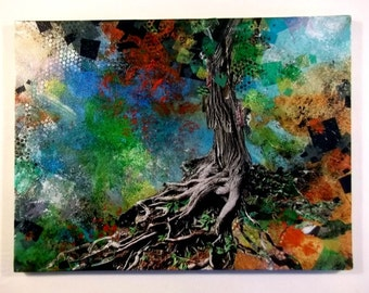 "Gnarled tree roots, abstract mixed-media on canvas, 12""x16"""