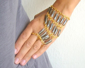 Ethnic slave bracelet in oxidized brass and gold tones/tribal ring bracelet metal